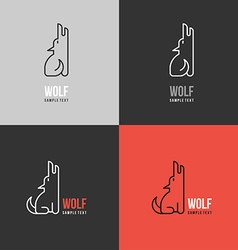 Thin Line Design Template Logotype Wolf Logo with vector image