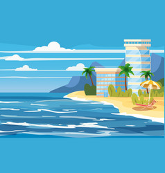 Tropical island building hotels vacation travel vector