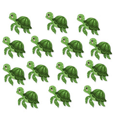 turtle pattern background cute cartoon vector image