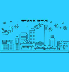 united states newark winter holidays skyline vector image