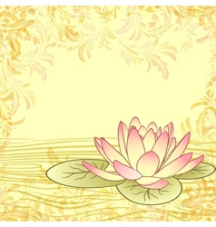 Vintage grunge paper background with lotus flower vector