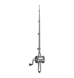 vintage monochrome fishing rod concept vector image