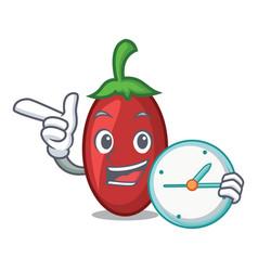 with clock goji berries character cartoon vector image