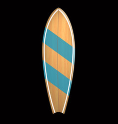 Wood surf board summer surfing isolated vector