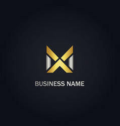 x initial cross gold logo vector image
