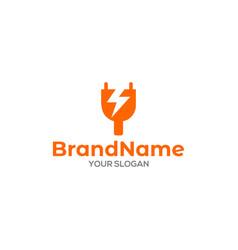 Y power plug electric logo design vector