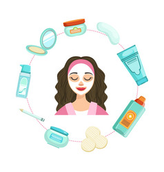 Young beautiful woman with facial skincare vector