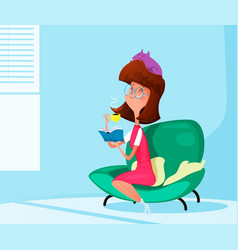 young girl reading a book and drinking coffee vector image