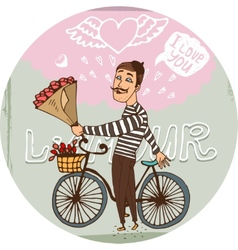Amorous Frenchman on a bicycle with red roses vector image