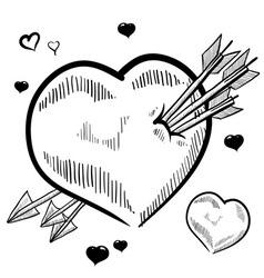 doodle heart arrows love vector image vector image