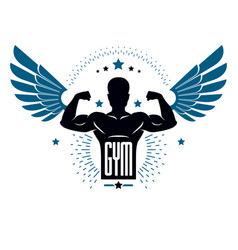 fitness and heavyweight gym sport club logotype vector image