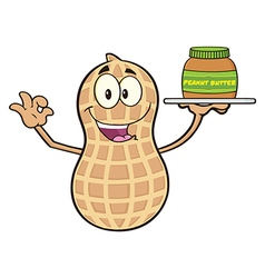 Peanut cartoon with a peanut butter spread vector