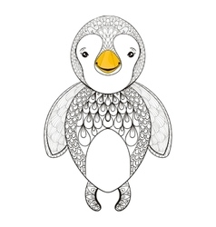 pinguin for adult coloring page Hand drawn vector image vector image