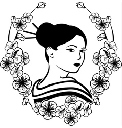 Portrait of a Geisha in a wreath of cherry vector image vector image