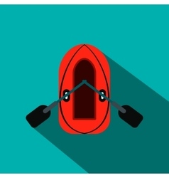 Red inflatable boat with oars flat icon vector image vector image