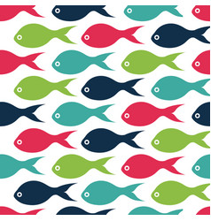 seamless pattern with color fishes vector image vector image