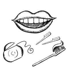 Smile toothbrush and floss sketches vector image