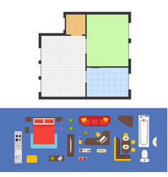 apartment plan and furniture set vector image