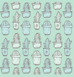 Cute hand drawn seamless pattern with cactus vector