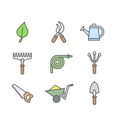 Gardening tools icons vector