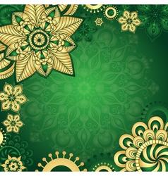 Gold-green vintage frame vector image