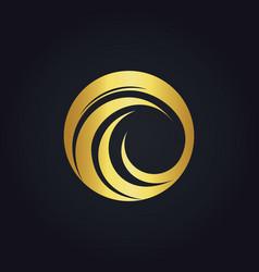 Round wave circle water gold logo vector