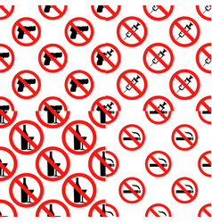 seamless set pattern with signs no smoking no vector image