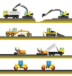Set of seamless horizontal road construction vector image