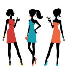 Three chick women vector image vector image