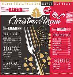 christmas restaurant menu template with christmas vector image vector image