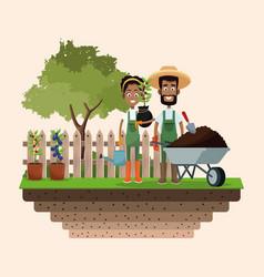 farmers wheelbarrow water can and plant badge vector image