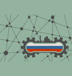 Flag of the russia build in gear vector