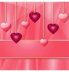 pink valentine hearts and banner vector image vector image