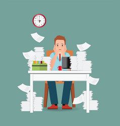 stress situation on work overworked and tired vector image