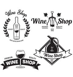 wine shop vintage emblems labels badges and logos vector image vector image