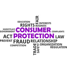 word cloud consumer protection vector image