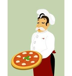 Chef with mozzarella pizza vector image vector image