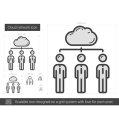 Cloud network line icon vector image vector image