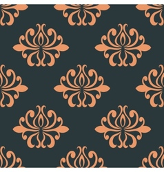 Retro seamless pattern with orange flowers vector image vector image