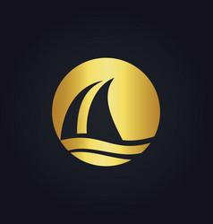 sail boat water beach travel gold logo vector image