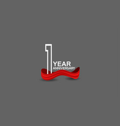 1 year anniversary line style white color vector