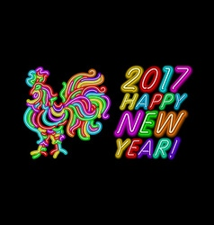 2017 Happy New Year rooster neon color light vector image