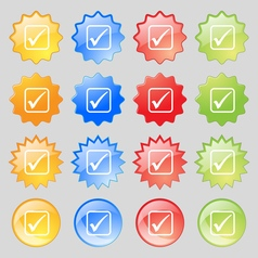 A check mark icon sign Big set of 16 colorful vector image