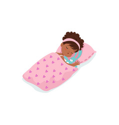 Adorable african little girl sleeping on her bed vector