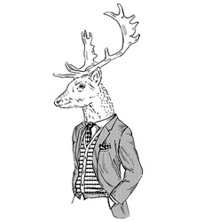 Anthropomorphic design of deer dressed up in retro vector