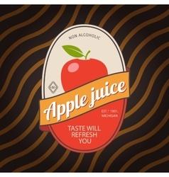 Apple juice retro fruit label vector image