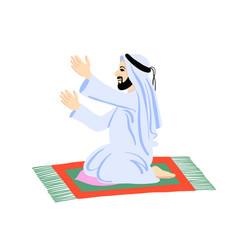 Arab muslim man praying on a praying carpet vector