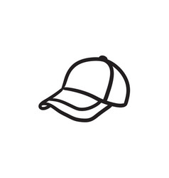 Baseball hat sketch icon vector