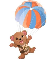 Beautiful bear with parachute vector