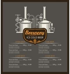 Beer brewery menu list vector